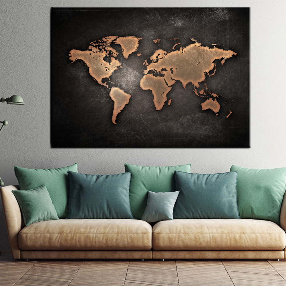 Wall Art Home Decor no Frame large black white map of the world Poster Oil Painting on Canvas for Living Room Office Bedroom
