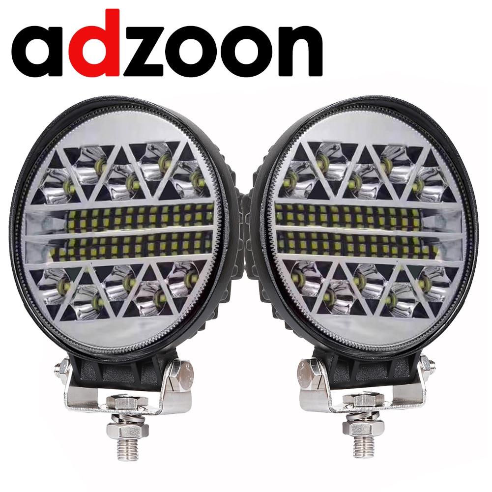ADZOON-Foco de trabajo para coche, luz LED antiniebla de 126w, 4 pulgadas, 10, 30V, 4WD, 12v, para camión, autobús, barco, montaje de luz