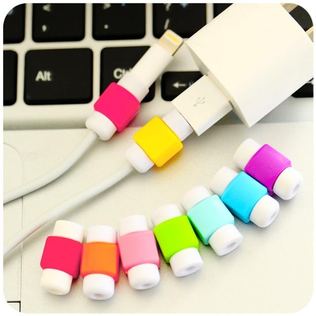 Moda de Nova Cabo USB Fones De Ouvido Protetor Colorido Da Tampa Do Caso Para O Iphone 4 5 6 Mais 7 7 Mais Casos Para s6 Android 6 s nota 5