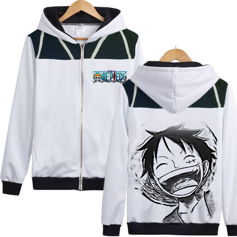 Us 31 84 20 Off Anime One Piece Luffy Hoodie Topi Jerami Monkey D Luffy Hoody Jaket Mantel Sweatershirt Dicetak Kedua Belah Pihak Merek Tahan Dr
