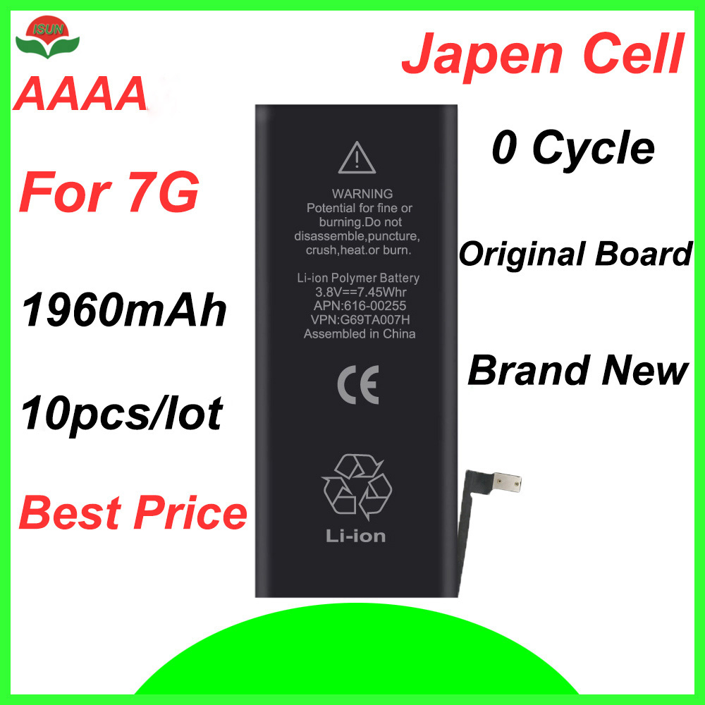 ISUN 10pcs/lot AAAA Battery Replacement For iPhone 7 - 7g 1960 mAh Battery Replaces
