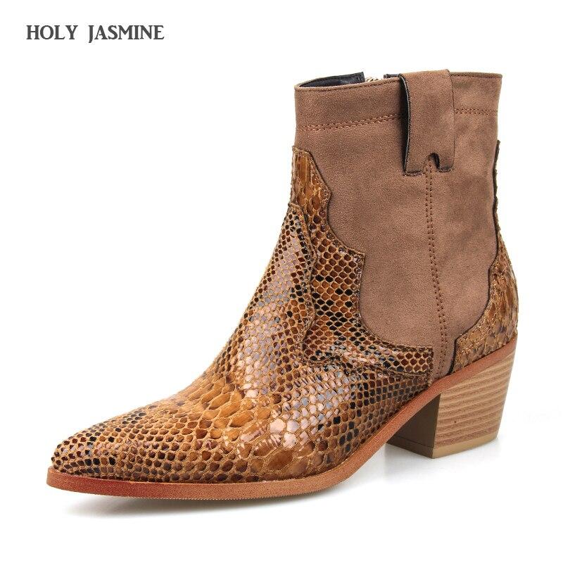 61e600d4 2019 Весна Для женщин сапоги до колена кожаные ковбойские женские ковбойские  ботинки острый носок без шнуровки в западном стиле на девочек же.