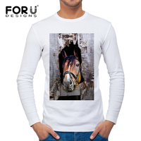 FORUDESIGNS Mens T Shirt Cool Crazy Horse Pattern Tops Tee Autumn White Tshirt Slim Fit Hipster
