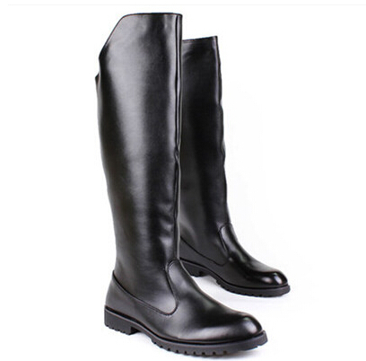 461f8da67e63 Winter boots for men black knee high tall boot male fashion shoes leather riding  boot black