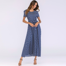 Vintage Polka Dot Dress Women Maxi Long Dress Short Sleeve High Waist A-Line Beach Dress Plus Size 3XL 4XL 5XL long robe female цена и фото