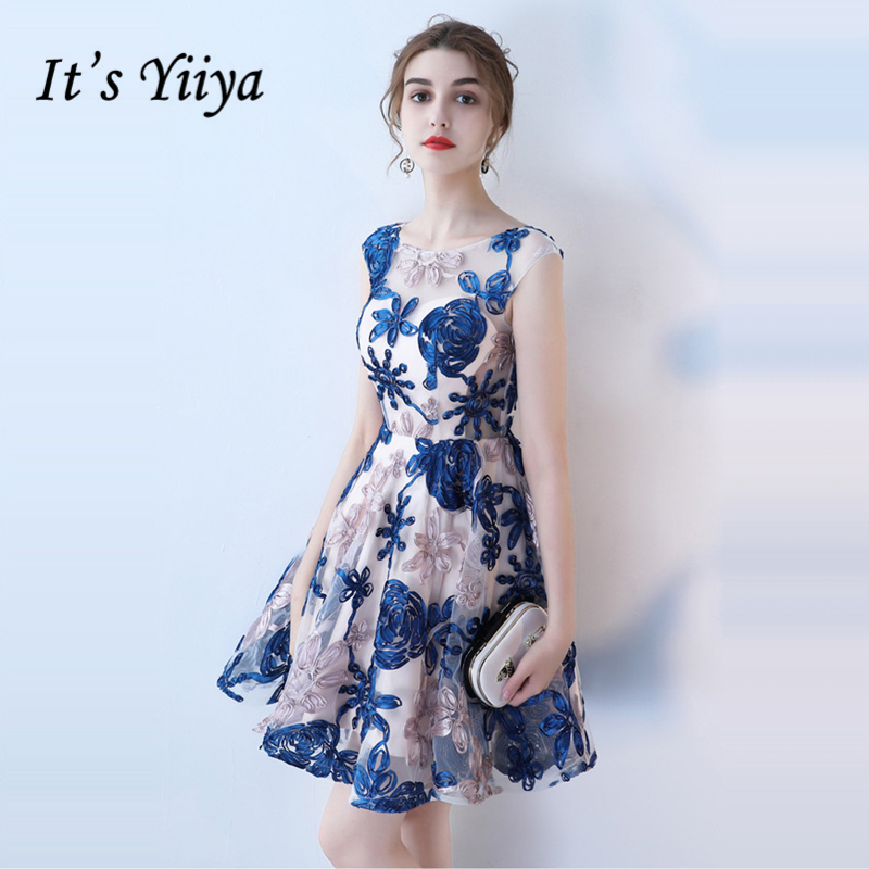 It's YiiYa   Cocktail     Dress   Women Summer Party Sleeveless Flower Embroidery Fashion Designer Elegant   Cocktail   Gowns LX978