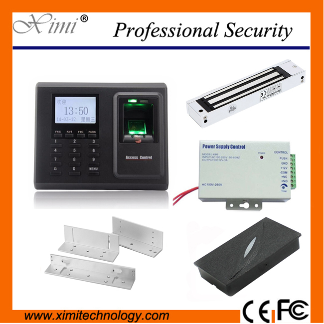 F2 fingerprint access control system contains 12V3A power supply, magnetic lock and card reader