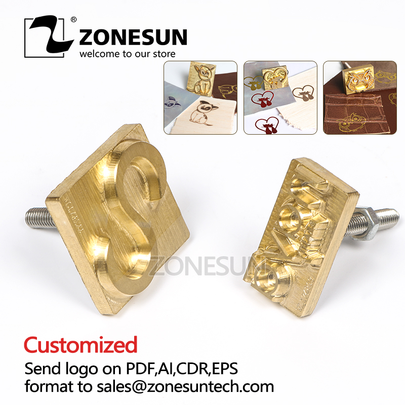 ZONESUN Custom LOGO Hot Brass Stamp Branding Iron cliche Mold with Logo Personalized Mold heating on Wood Leather DIY gift