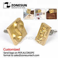 ZONESUN Customized Logo Leather Stamp Hot Brass Branding Iron Brand Heating On Wood Paper DIY Gift Personalized Stamping Mold