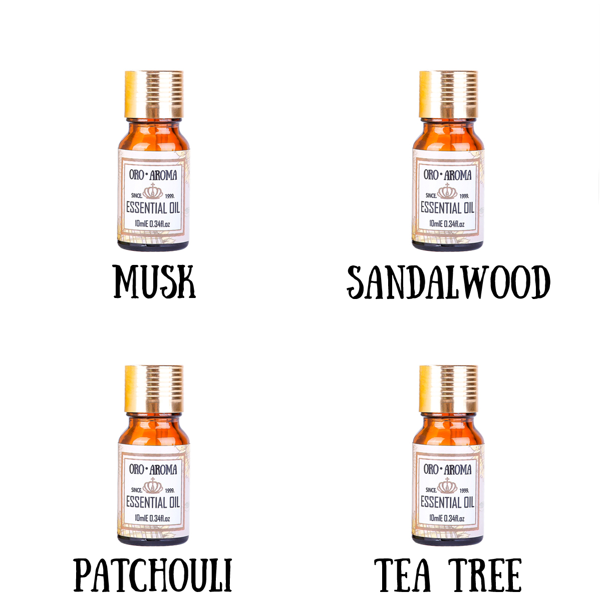 Famous brand oroaroma Pure Musk Sandalwood Patchouli Tea tree Essential Oils Pack For Aromatherapy, Massage,Spa Bath 10ml*4