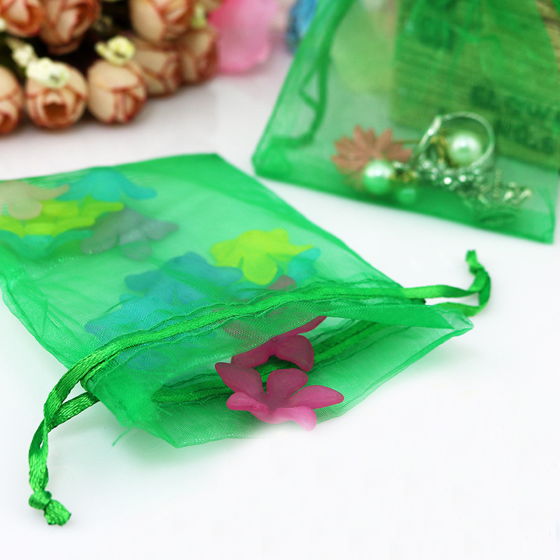 1000pcs 17*23cm Grass green Organza gift bag jewelry packaging display bags Drawstring pouch for bracelets/necklace/wed Yarn bag