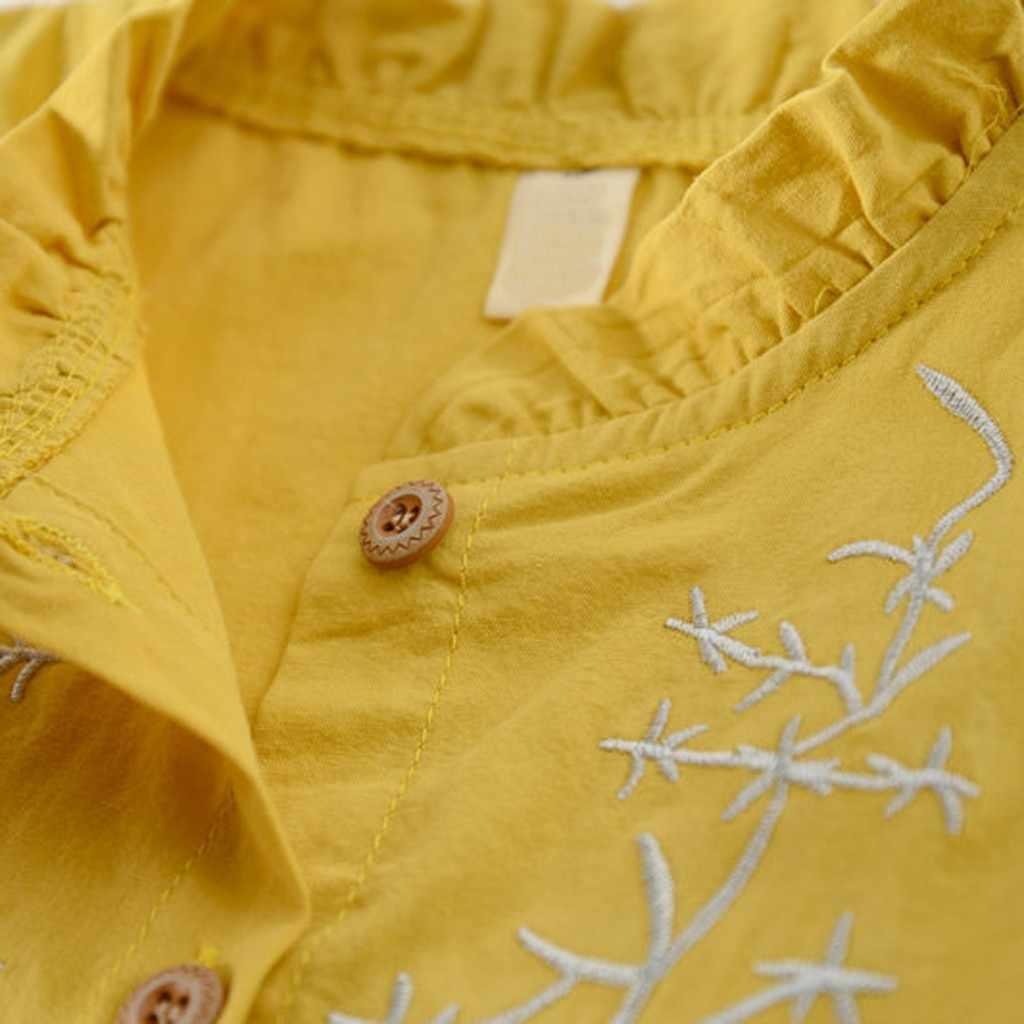 Детские платья для девочек одежда для малышей Однотонная рубашка с длинными рукавами с цветочным принтом; платье одежда летнее платье для девочки Платья для маленьких девочек #06