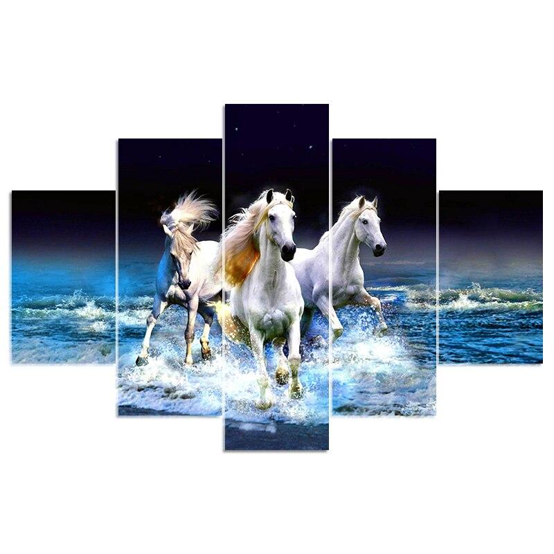 5d diy diamond cross stitch horse on the sea diamond painting embroidery full square Rhinestone 5PCS Multi-picture Home decor