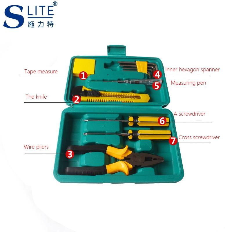 Slite 7pcs Home Hardware Set Repair Combination Manual Toolbox Tools Carpentry vehicle Multifunctional Repair in Hand Tool Sets from Tools