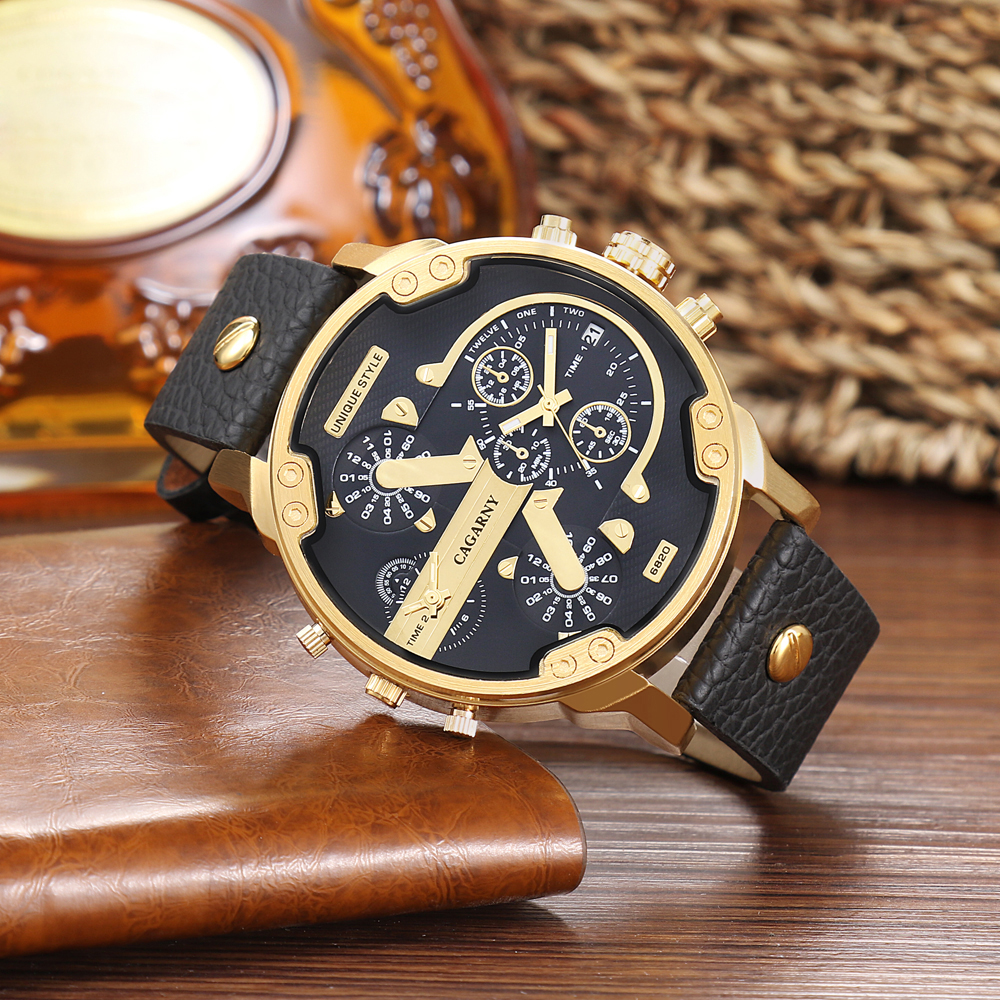 luxury brand cagarny quartz watch for men watches golden case dual time zones dz style watches (5)
