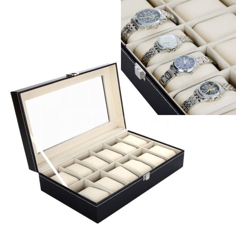 Bonne qualité 12 grille en cuir montre boîte vitrine boîte bijoux Collection rangement organisateur montre-bracelet support de la boîte