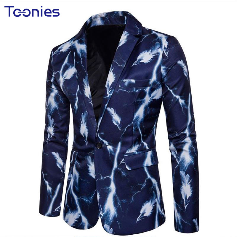 New Fashion Long Sleeved Blaser Masculino Single Buttons Suite Men Pattern Printed Long V-neck Male Costume Slim Mens Clothing