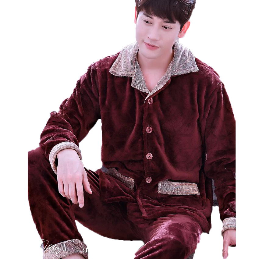 Men Flannel Pajamas Set Casual Home Clothing Winter Long Sleeve Round Neck Cartoon Men's Sleepwear Pyjamas Homme Nightclothes 5