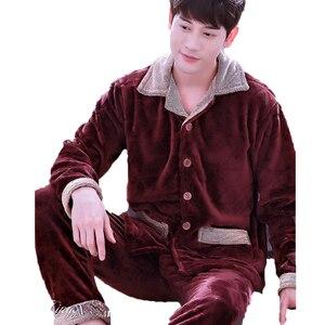 Image 5 - Men Flannel Pajamas Set Casual Home Clothing Winter Long Sleeve Round Neck Cartoon Mens Sleepwear Pyjamas Homme Nightclothes