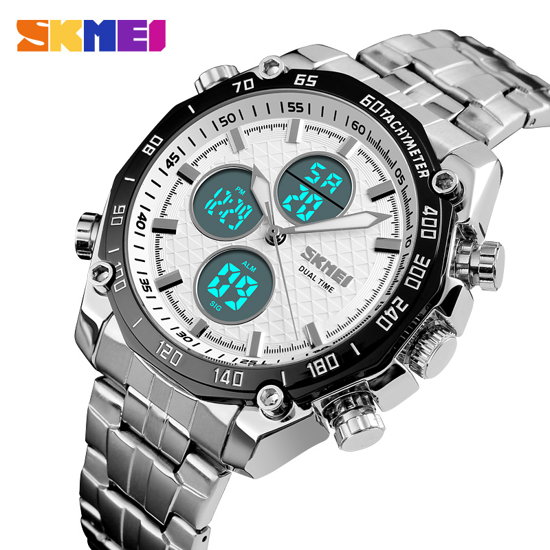 <font><b>SKMEI</b></font> Top Brand Men Military Sport Watches Mens LED Analog Digital Watch Male Army Stainless Quartz Clock Relogio Masculino image