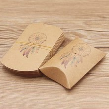 20pc/lot Good luck Dreamcatcher gifts package  pillow box paper DIY Thank You Flower style Party Candy Packaging bag