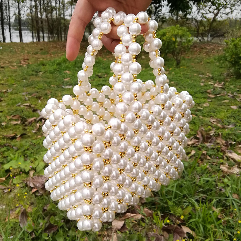 Women's Tote Double Hand Strap 2 PCT CCB Golden Small Round Handmade Pearl Beaded Bag pearl beaded ring round neck tee