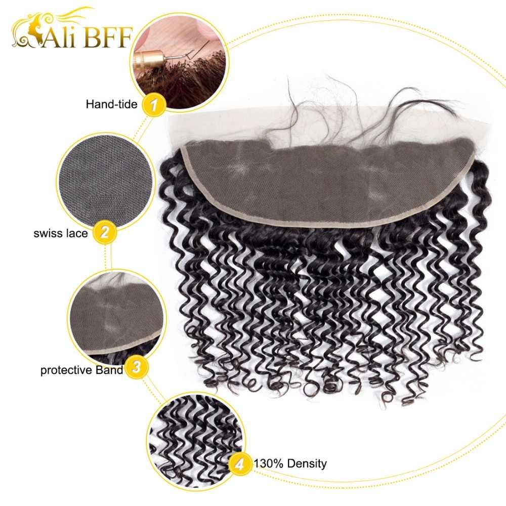 Mechones de pelo brasileño con ondas intensas de ALI BFF, pelo Remy Frontal, 3 mechones con extensiones de cabello humano mechones frontales de encaje