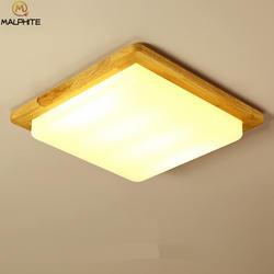 Деревянный современный подвесной светодиодный Потолочные светильники простые квадратные спальни деко освещение потолочный светильник