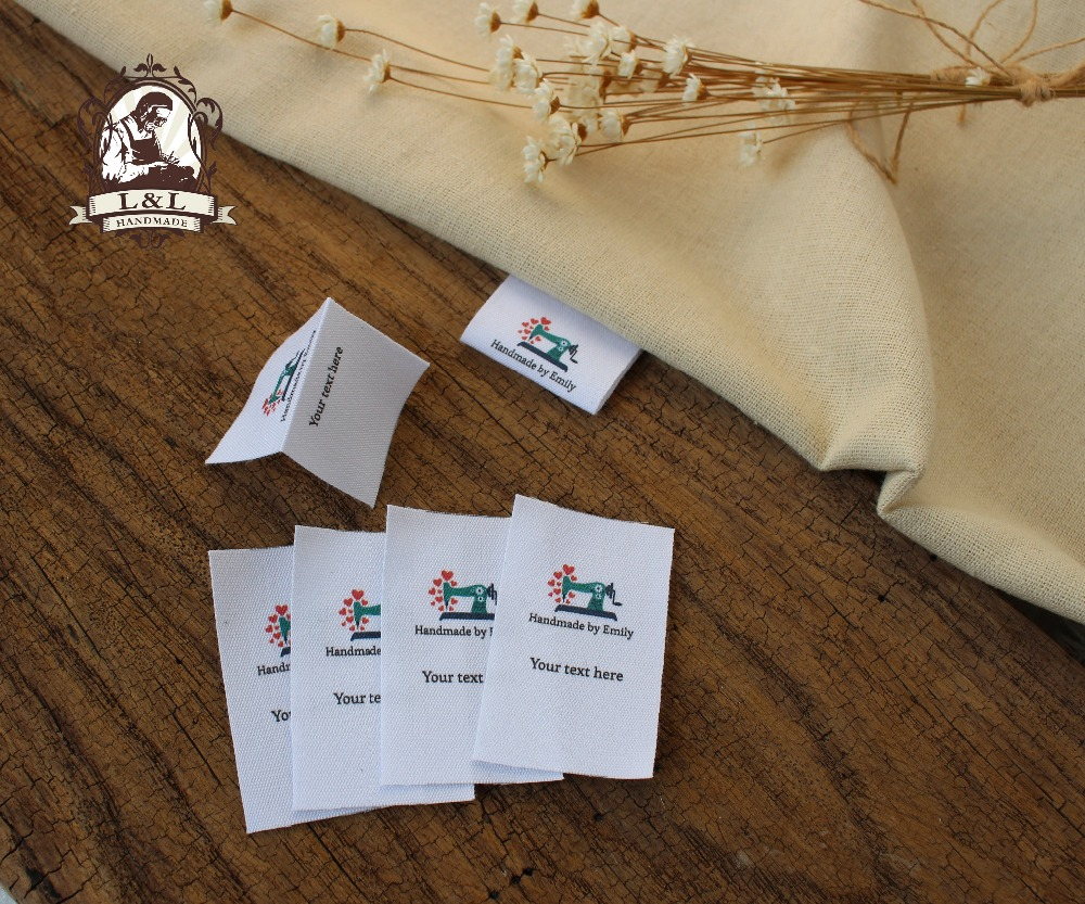 Custom Folded Sewing Labels, Handmade labels, Country, name, date, manufacturing area... Cotton Ribbon Tags