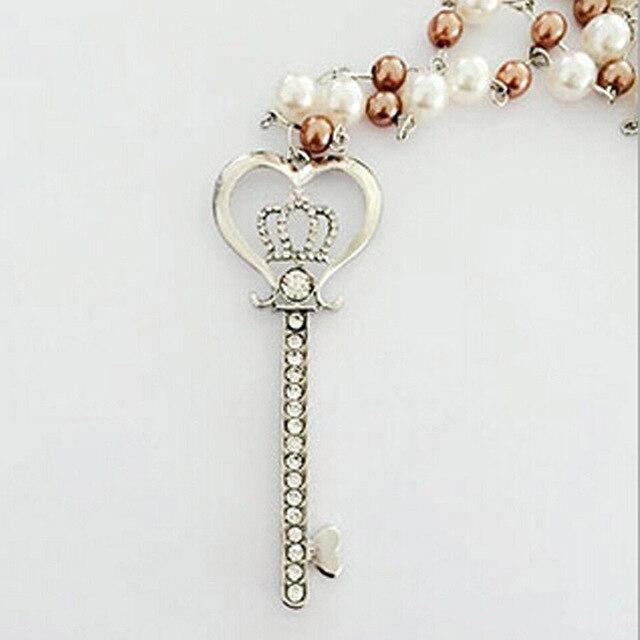 New heart crown key pendant imitation pearl necklace crystal new heart crown key pendant imitation pearl necklace crystal rhinestone long necklaces women jewelry sweater chain aloadofball Images