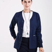 Warm Ups Jacket Nurse Tops Stretch Button Front Scrub Jackets Nurse Coat Warm Up Scrub Top Long Sleeve Workwear Tunic