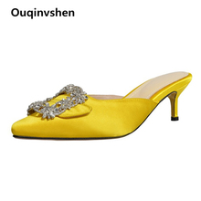 Ouqinvshen Crystal Mules High Heels Yellow Plus Size Fashion Buckle Outdoor Women Slippers Summer Round Toe Women Shoes 2019