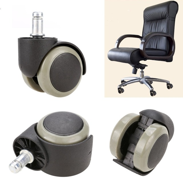 New 5pcs Office Chair Soft Rubber Caster Wheel Swivel Wood Floor Funiture Replacement