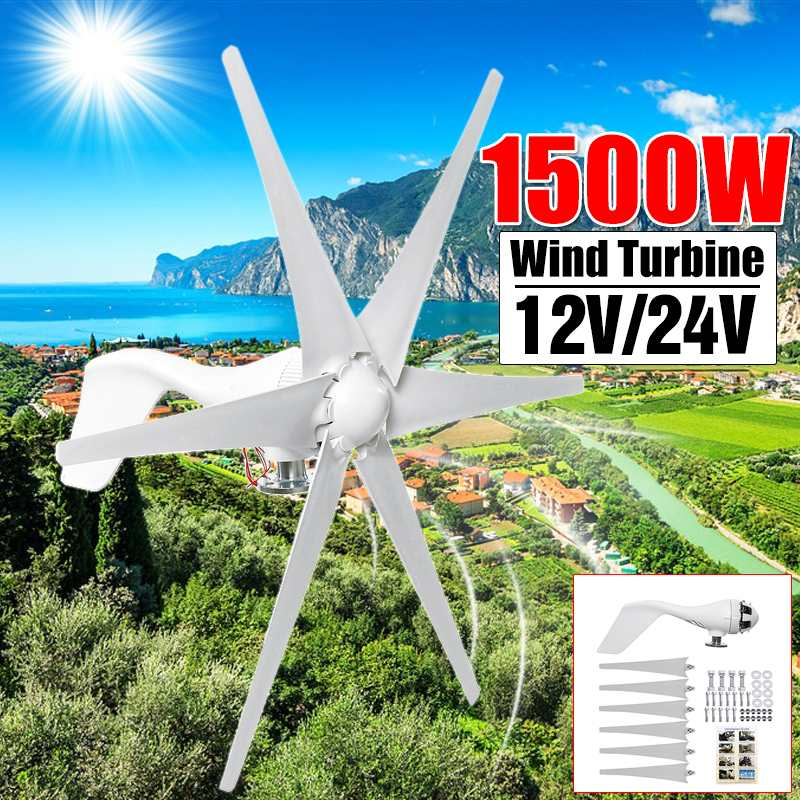1500W 12V 24V Six Blade Black White Horizontal Wind Turbines Generator Power Windmill Energy Turbines Charge for Home or Camping1500W 12V 24V Six Blade Black White Horizontal Wind Turbines Generator Power Windmill Energy Turbines Charge for Home or Camping