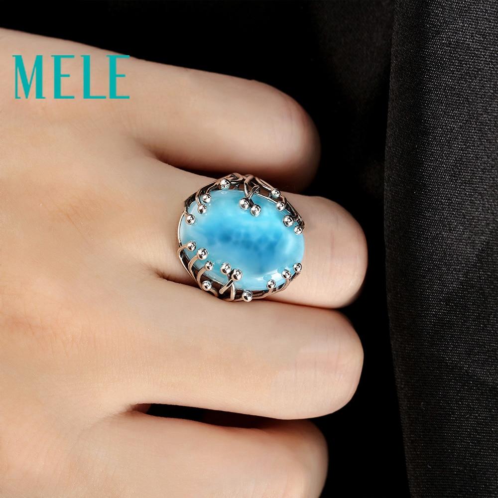 Natuurlijke larimar zilveren ring, ovaal 15mm * 20mm, blauwe steen en - Fijne sieraden - Foto 4