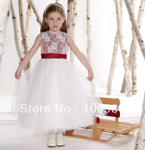 Free shipping white lace overlay covered red satin bodice layers free shipping white lace overlay covered red satin bodice layers tulle kids flower girls dress gown with satin sash waistband in flower girl dresses from mightylinksfo