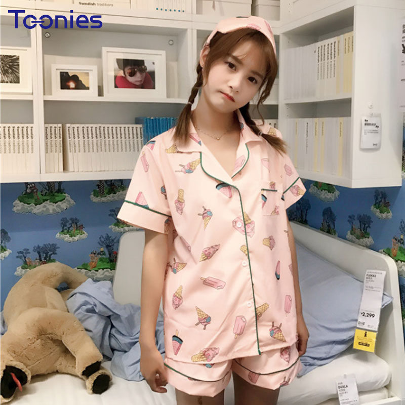 Women Leisure Home Suit Pajamas Summer Style Kawaii Ice Cream Printed Pajama Suit With Eye Mask Shirt and Shorts Sleepwear Sets