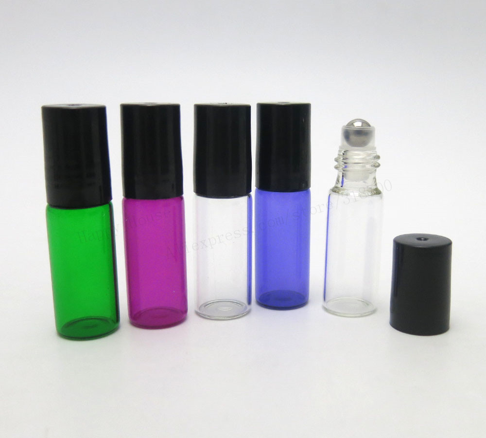 30pcs/lot 5ml empty mini glass roll on bottle for essential s