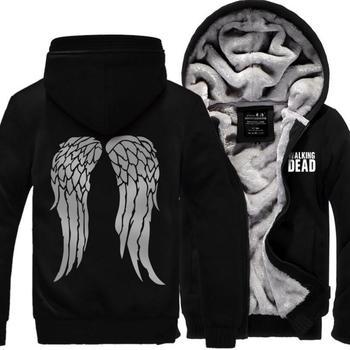 цена на Hot New The Walking Dead Hoodie Zombie Daryl Dixon Wings Winter Fleece Mens Sweatshirts Tracksuit thick 2019 autumn down jacket