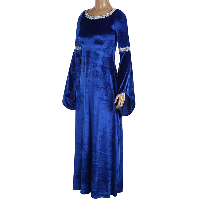Adult Lady Medieval Horror Evil Priestess Pagan Witch Costume Long Blue Gown Robe Red Maxi Trained Dress Velvet Outfit For Women