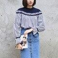 Yichaoyiliang Dulce Remiendo de la Manga Larga Camiseta A Rayas Camisa Floja Tops Tees Mujeres Slash Hombro Azul de Primavera Camiseta