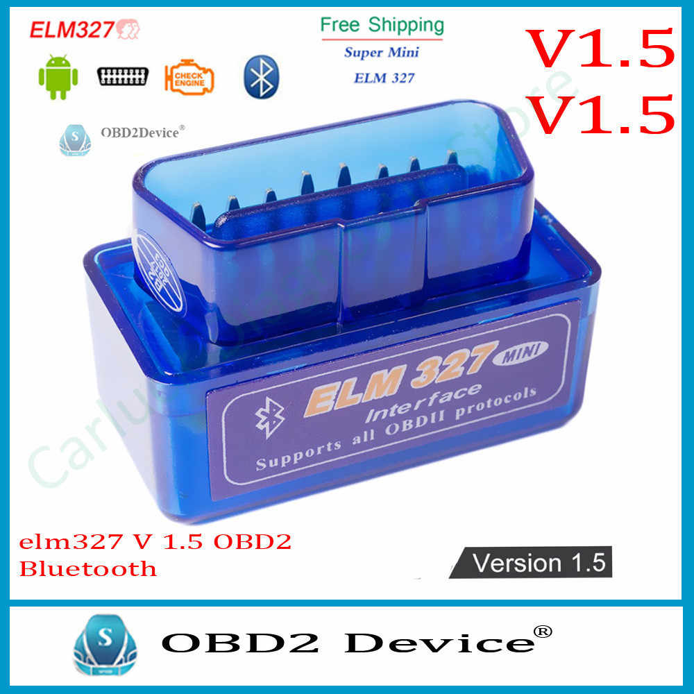 Best MINI ELM 327 V1.5 Bluetooth For Android elm 327 Auto OBD2 Scanner Car Code Reader Diagnostic Tool elm-327 V 1.5 OBD 2 II