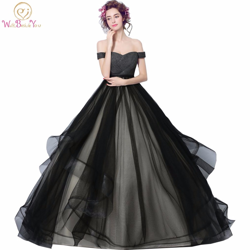 Walk Beside You Black Evening Dresses vestido de baile longo ajax tenue 2018 voetbal Ball Gown Prom Dresses with Pleats