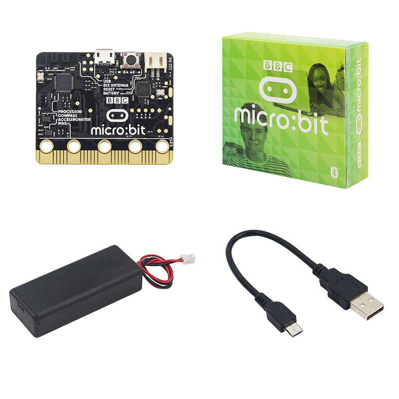 BBC Micro:bit V1.3B NRF51822 KL26Z 256kB Flash Cortex-M0 Computer + Battery Box + USB Charge Cable For Learning Programming