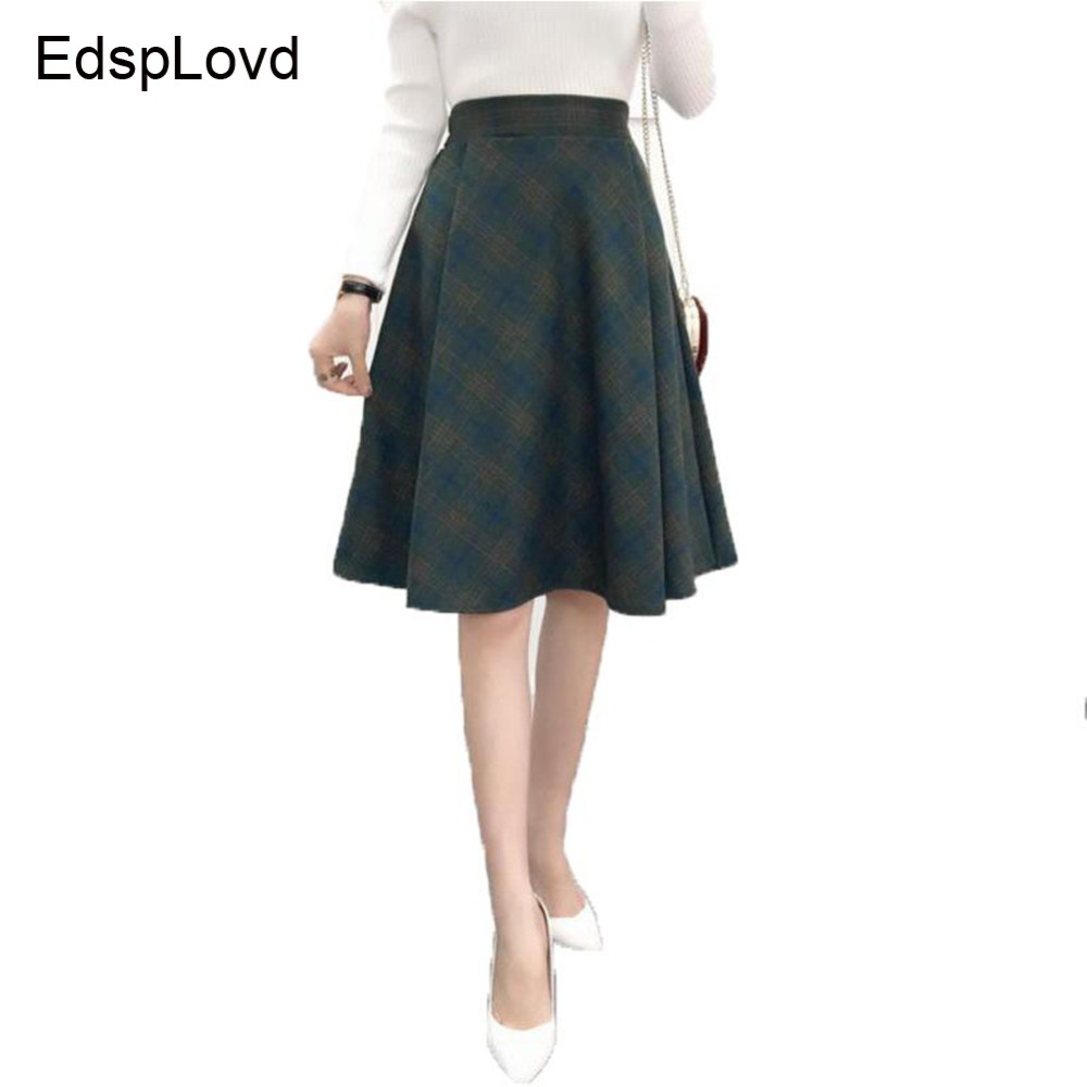 EdspLovd Womens Plaid Skirt A-Line British Style Plaid Skirts Kilt 2018 Winter Vintage Wool Tartan Umbrella Plaid Skirts AS230
