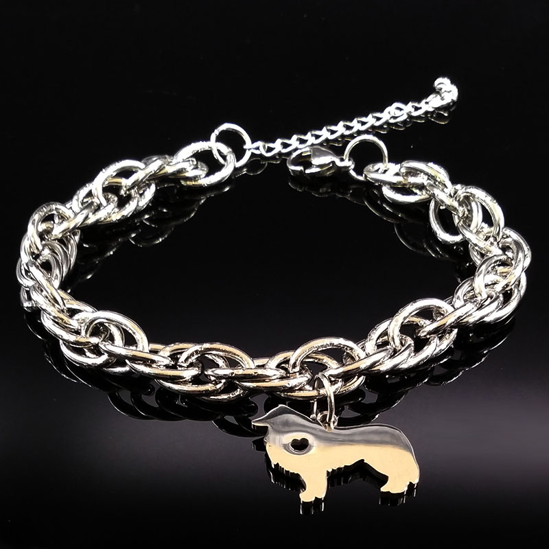 2017 Border Collie Dog Stainless Steel Bracelets for Women Pokemon Silver Color Bracelets Jewelry Christmas Gift bileklik B17890
