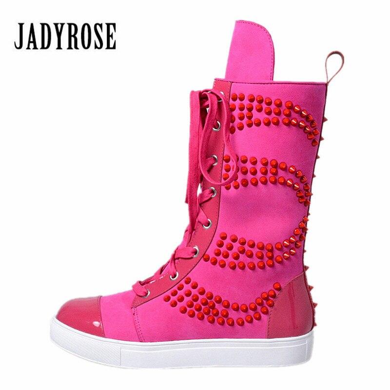Botas Grün Boot Militares Mid Rose Stiefel Schuhe Nieten Vinatge Reiten Frau rose Flache kalb Lace gelb Red Lange Up Frauen Rot Jady Plattform wq6SUHq