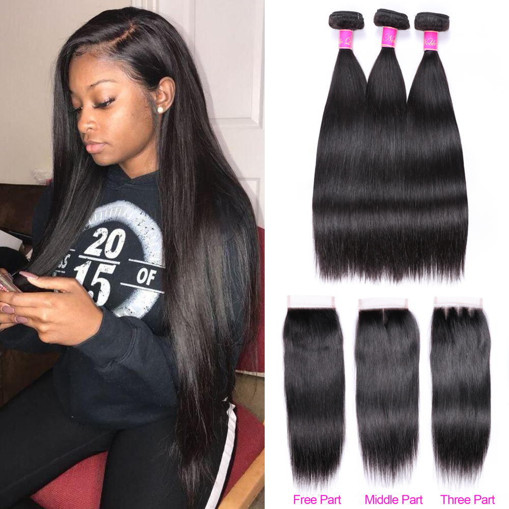 Abijale Straight Hair Bundles With Closure Brazilian Hair