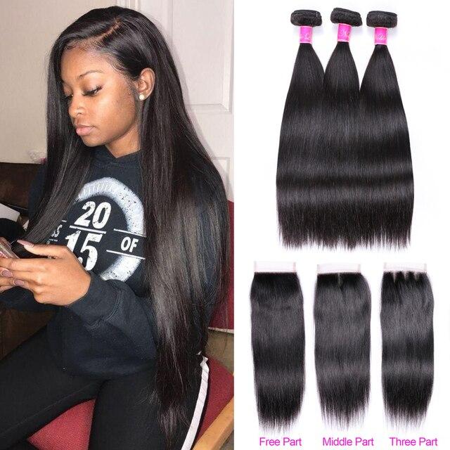Paquetes de pelo recto Abijale con cierre paquetes de tejido de pelo brasileño con cierre paquetes de cabello humano con cierre no Remy