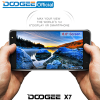 Doogee X7 mobile phones 6.0Inch HD 2.5D IPS 1GB RAM+16GB ROM Android6.0 Dual SIM MTK6580 Quad Core 8.0MP 3700mAH WCDMA